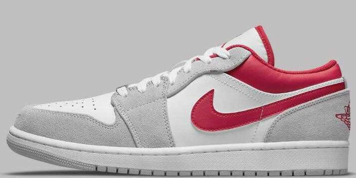 Lastly Air Jordan 1 Low Blends Grey Suedes Releasing With Bright Red Leathers
